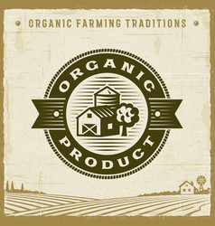 vintage organic product label vector image