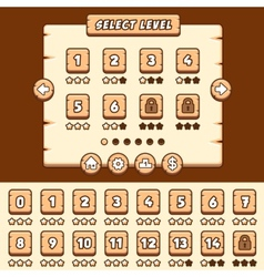 Wooden level selection game asset vector image