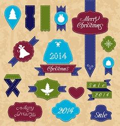 Christmas set variation labels and ribbons vector image vector image