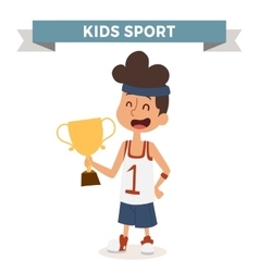 Cute cartoon profession basketball kid with vector image vector image