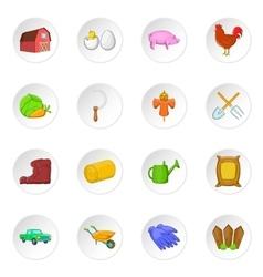 Farming icons set cartoon style vector image