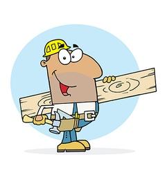 Hispanic Worker Man A Wood Plank vector image vector image