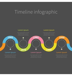 Timeline Infographic with ribbon empty dash line vector image vector image