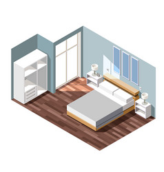 bedroom interior isometric composition vector image