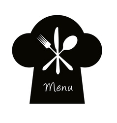 Chef hat with fork knife and spoon - menu concept vector image vector image