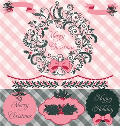 Christmas Wreath Clipart and Paper Set vector image vector image