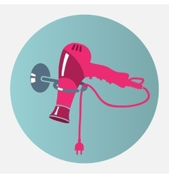 Hairdryer blow dryer with two-pin plug on stand vector image