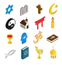 Religion isometric 3d icons set vector