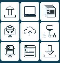 set of 9 web icons includes blog page website vector image vector image