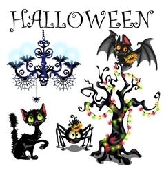 Set of symbols Halloween on white background vector image vector image
