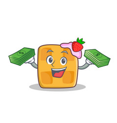 waffle character cartoon design with money vector image vector image