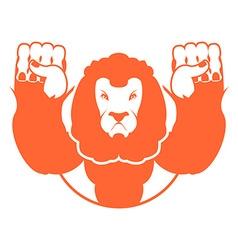 Angry lion aggressive wild beast logo big leo evil vector