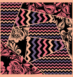 chevron russian floral seamless pattern vector image