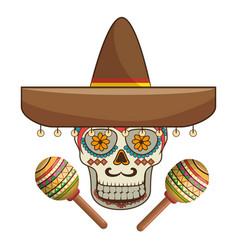 Decorative ornamental sugar skull with mexican hat vector