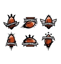 american football set of logos vector image