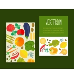 Concept banners with flat icons for vegetarian vector image vector image
