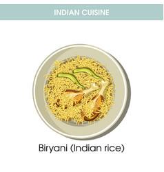 indian cuisine biryani rice traditional dish food vector image vector image