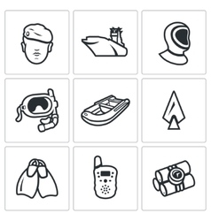 Set of Commandos Icons Soldier Ship vector image