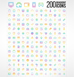 200 Trendy Thin Gradient Icons vector image