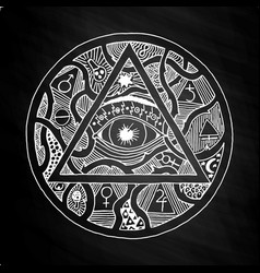 All seeing eye pyramid symbol design on chalkboard vector