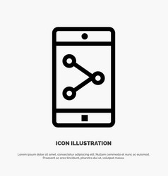 app share mobile mobile application line icon vector image
