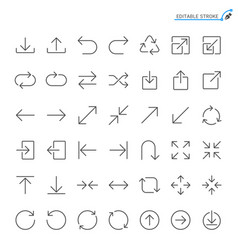 arrow line icons vector image