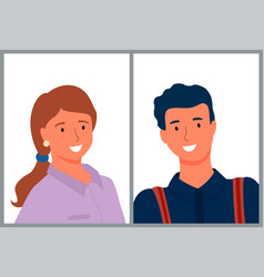 Attractive people on photo group portrait vector