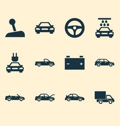 Automobile icons set collection accumulator vector