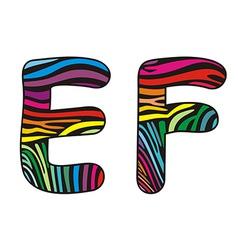 Background skin zebra shaped letter ef vector