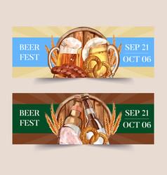 Beer sausage pretzel and grilled meat banner vector