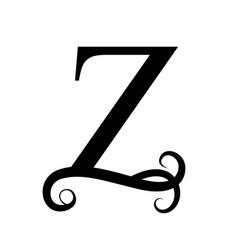 Black letter z capital letter for monograms and vector
