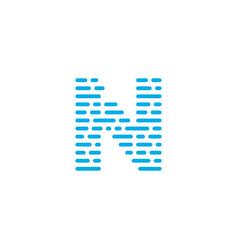 blue stripes logo letter n vector image