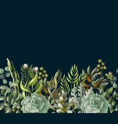 border with leaves and succulent vector image