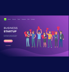 business startup team workers with signs web vector image