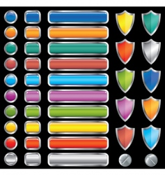 Buttons shields and screw set vector