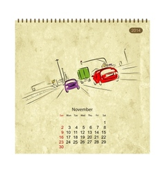 Calendar 2014 november Streets of the city sketch vector