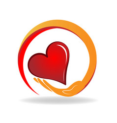 Caring hand with loving heart icon vector