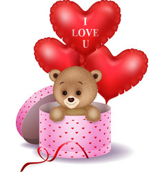 cartoon bear in a gift box holding red shape ballo vector image