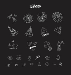 chalkboard doodle drawing pizza and vegetables vector image
