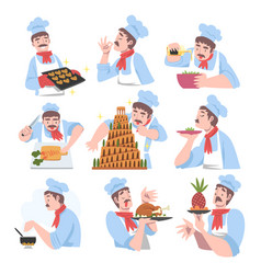 chef cooking in kitchen set cook character in vector image