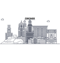chicago united states outline travel skyline vector image