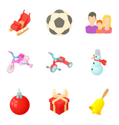 Childhood memories icons set cartoon style vector