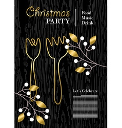 Christmas party template with gold decoration vector