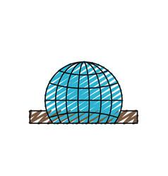 Color crayon silhouette closeup flat globe earth vector