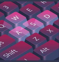 Computer gamer keyboard closeup highlight wasd vector