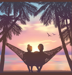 Couple in love at beach on hammock background vector