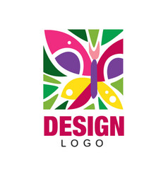 creative label design with abstract butterfly and vector image