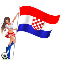 Croatian girl fan rejoices in victory soccer and vector