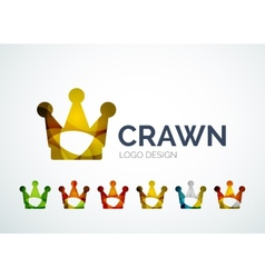 Crown logo design made of color pieces vector image