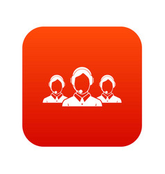 Customer support operators icon digital red vector